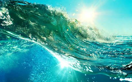 Inspiratie deco oceaan golf onder water