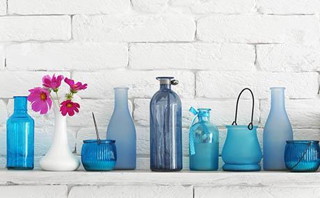 Inspiratie kleuren deco flessen blauw glas