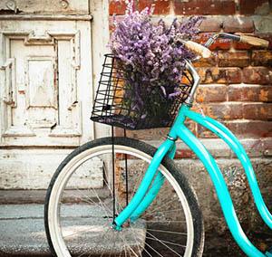 Inspiratie deco bloemen blauwe fiets